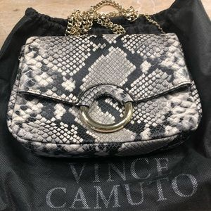 Vince Camuto leather snakeskin print crossbody